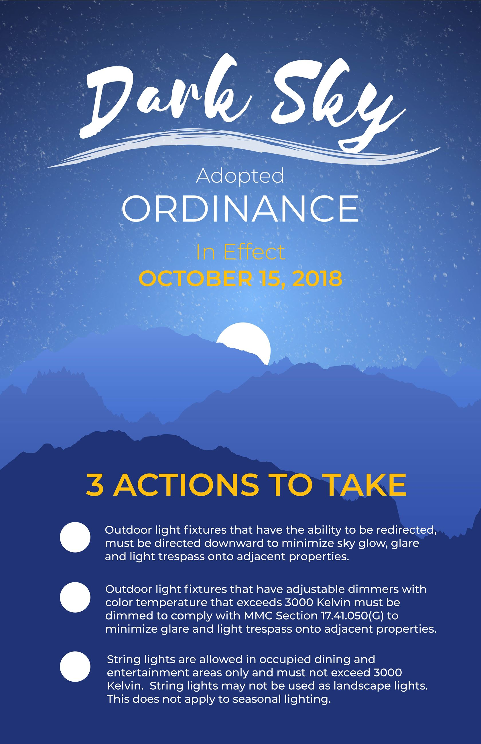 Dark sky ordinance
