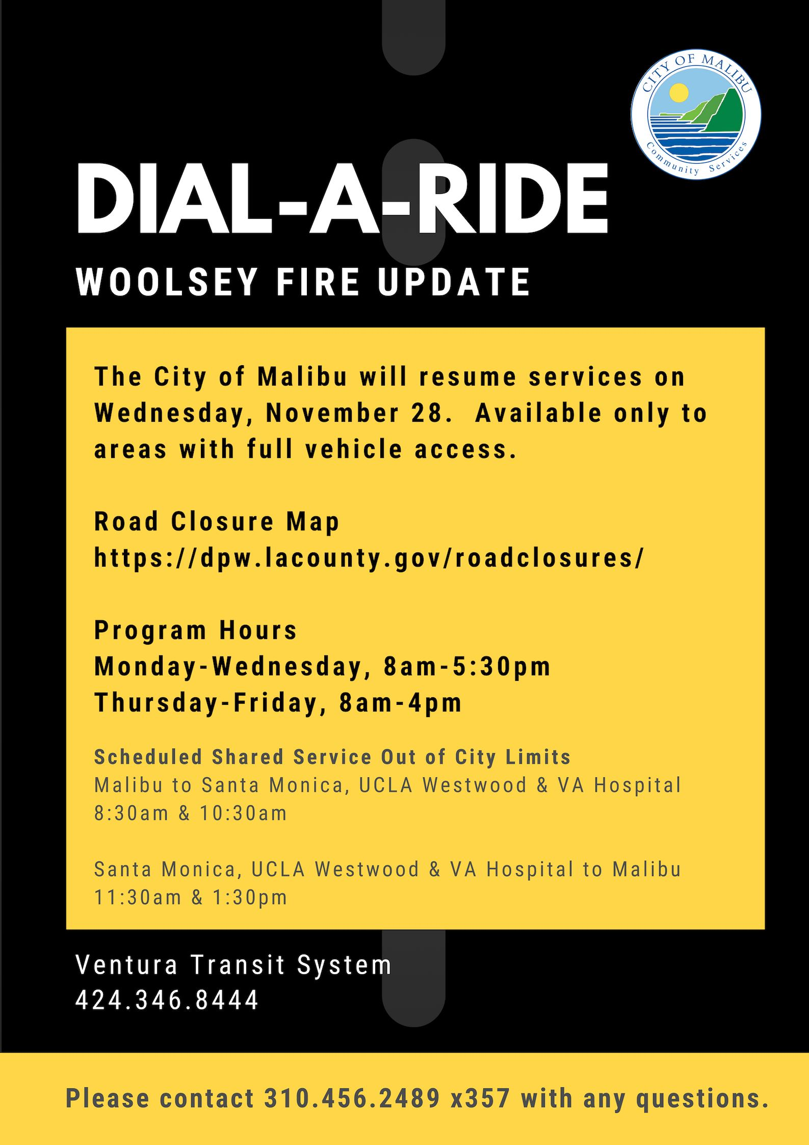 Dial-A-Ride Woolsey Fire Update