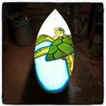eco surfboard with turtle design