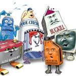 HHW and E-waste cartoon characters